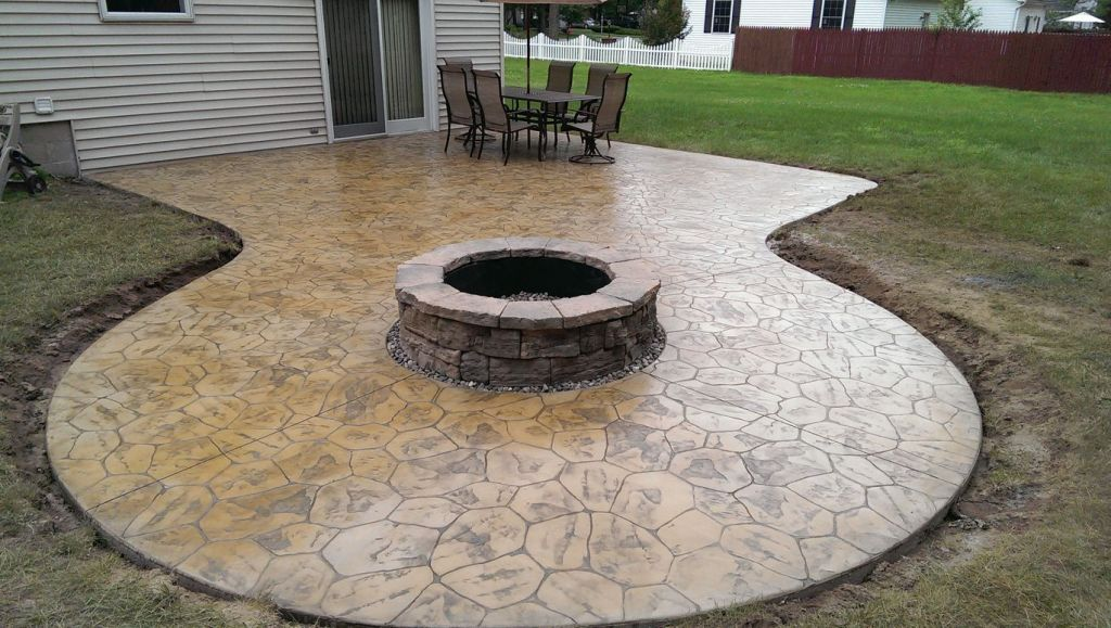 Hoffman Stamped Concrete Patio Firepit Area